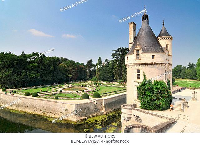 Chateau de Chenonceau gardens France. This castle is located near the small village of Chenonceaux in the Loire Valley was built in the 15-16 centuries and is a...
