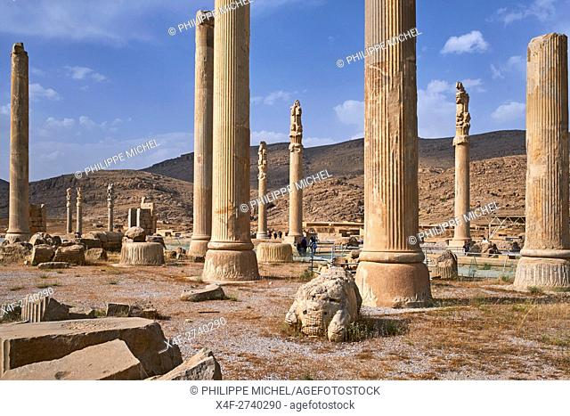 Iran, Fars Province, Persepolis, World Heritage of the UNESCO, pillars of the Apadane palace