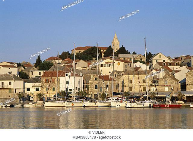 Croatia, Primosten, view at the city, Harbor, evening sun,  Series, Balkan peninsula, Dalmatia, Dalmatian coast, cityscape, old town, houses, residences