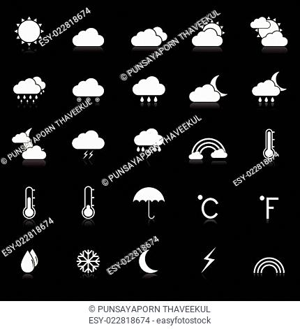 Weather icons with reflect on black background