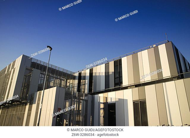 Daytime view of the architecture of the new Massa Carrara hospital in Italy