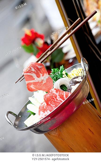 Restaurant with parafine food samples, Japan