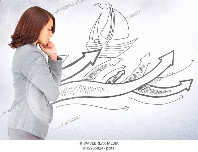 Business woman thinking against boat doodle and white background with flare