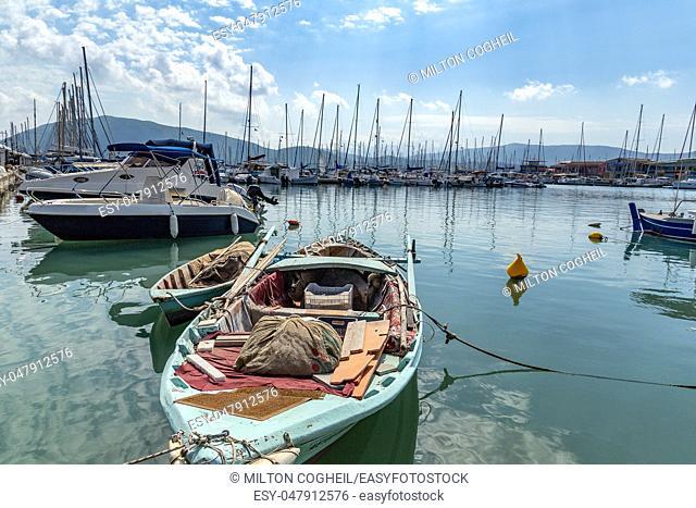 Docked sailboats in the small marina of Lefkas town, Lefkada, Greece