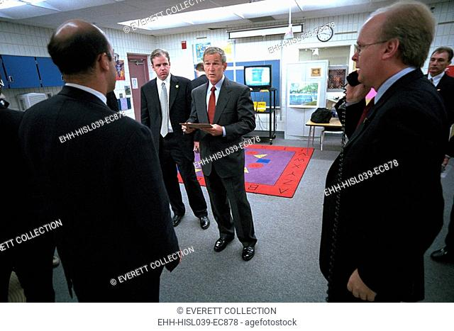 President George W. Bush with senior staff after learning of the 9-11 Terrorist Attacks. He is still at Emma E. Booker Elementary School in Sarasota, FL