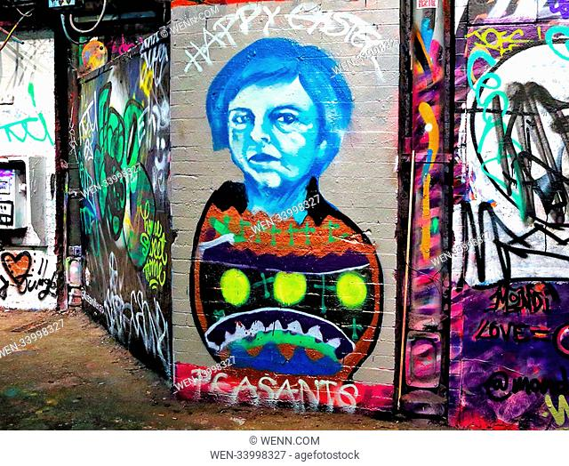 Prime Minister Theresa May's Easter Message - Street Art seen at Leake Street, Waterloo, London Featuring: Theresa May Where: London