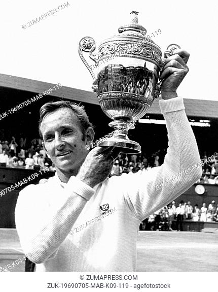 Jul 05, 1969; Wimbledon, UK; In the mens singles final at Wimbledon this afternoon, ROD LAVER from Australia, beat Australian John Newcombe, 6-4, 5-7