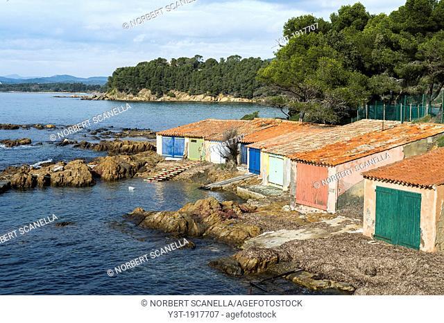 France, Var 83, Corniche des Maures, Cabasson sheds located in front of the fort Brégançon