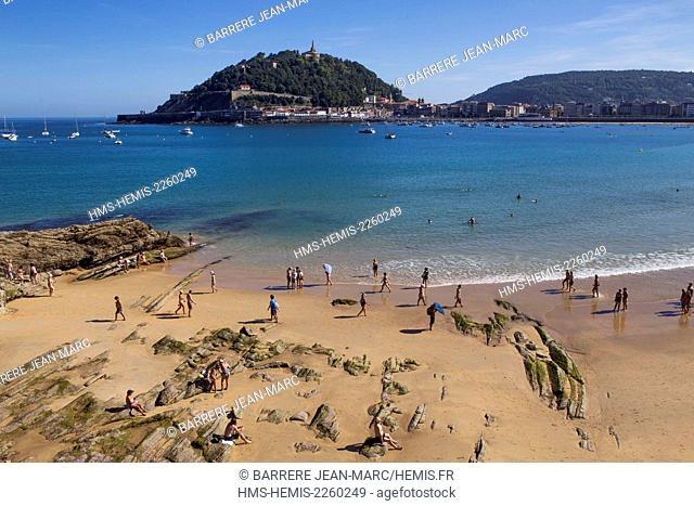 Spain, Basque Country, Guipuzcoa province (Guipuzkoa), San Sebastian (Donostia), European capital of culture 2016, La Concha Beach