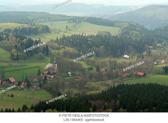 Pasterka before the war in Germany - Passendorf. Villiage at the foot of Stolowe Mountains. Sudety Mountains South-western Poland