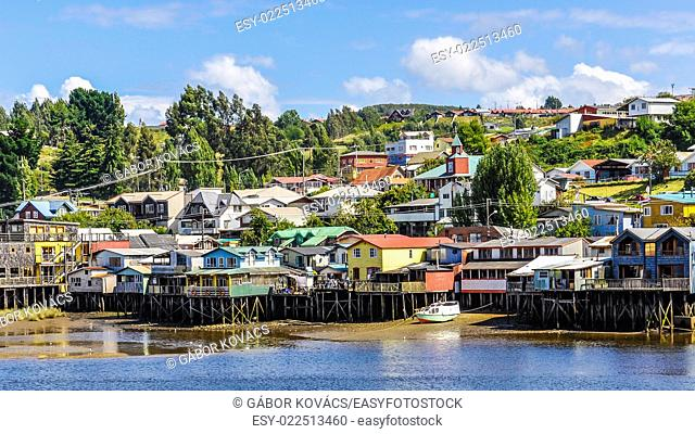 Houses standing on small columns, Chiloe Island, Patagonia, Chile