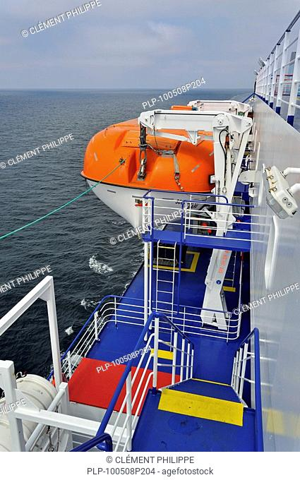 Lifeboat on board of ferryboat, Europe