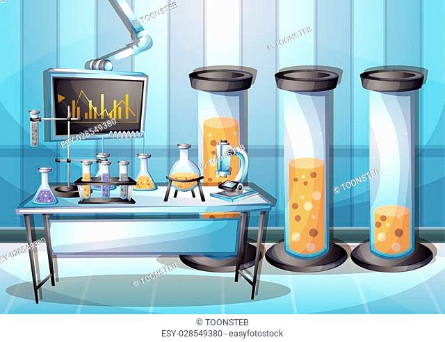 cartoon vector illustration laboratory interior room with separated layers in 2d graphic