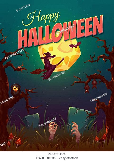 Halloween party poster with witch and moon. Vector illustration