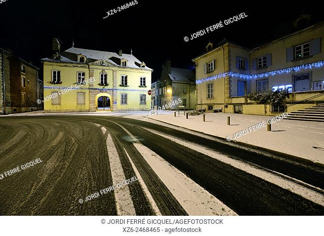 Landscape of Louhans at night with snow, Saône-et-Loire, Bourgogne, France, Europe