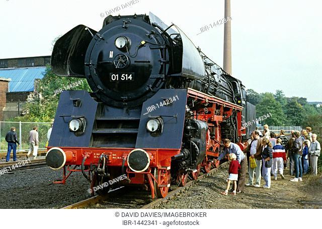 Express steam locomotive 01 514 at the 150 year anniversary exhibition DB, Deutsche Bahn, German Railways, Bochum Dalhausen, North Rhine-Westphalia, Germany