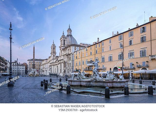 Fountain of Neptune at Piazza Navona, Rome, Lazio, Italy, Europe