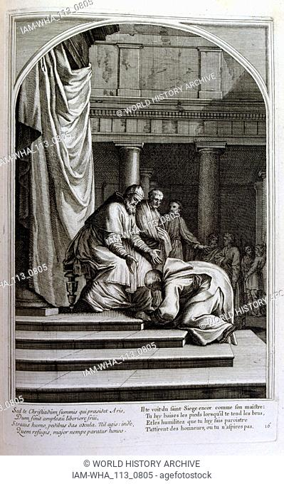 Engraving by Francois Chauveau 1680 'The life of St Bruno' founder of the order of Chartreux