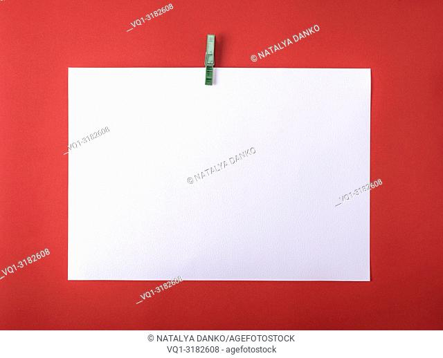 white blank drawing sheet on green plastic clothespin, red background, copy space
