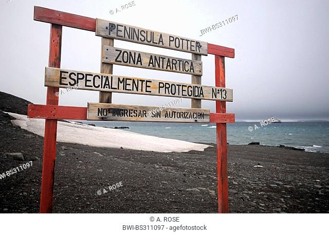 sign at the Potter Cove marking a protection zone only to be entered with a special authorisation, Antarctica, King George Island