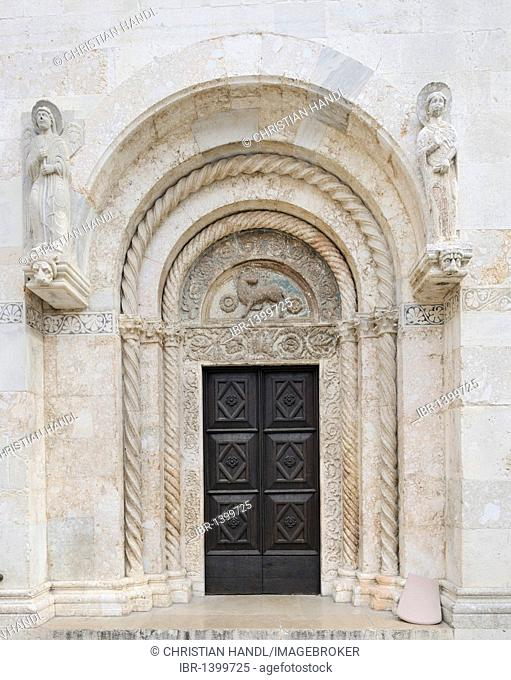 Side door on the west facade of the Cathedral of St. Anastasia in Zadar, Croatia, Europe