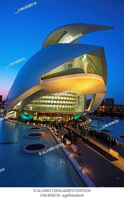 Palacio de las Artes Reina Sofia, City of Arts and Sciences by Santiago Calatrava, Valencia. Comunidad Valenciana, Spain