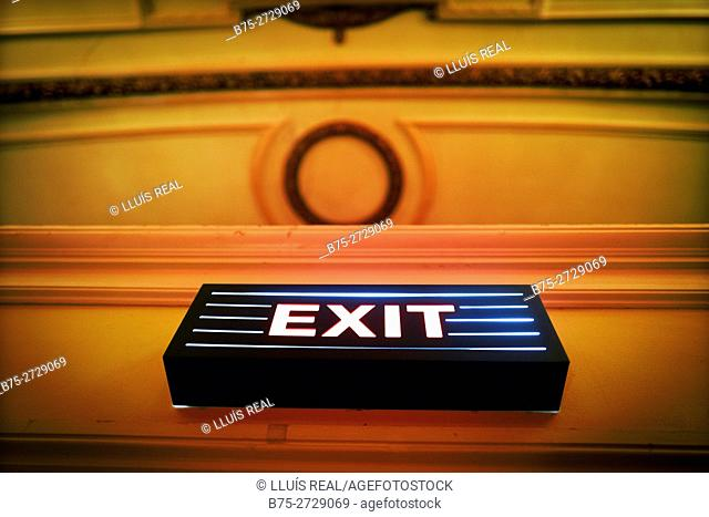 """Close-up of a """"EXIT"""" sign in cinema. London, England"""