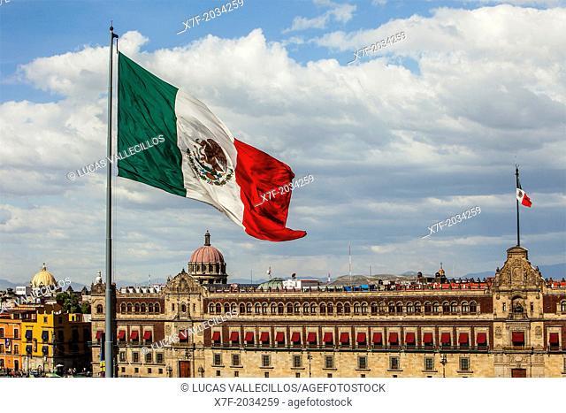 National Palace, Palacio Nacional, in Plaza de la Constitución, El Zocalo, Zocalo Square, Mexico City, Mexico