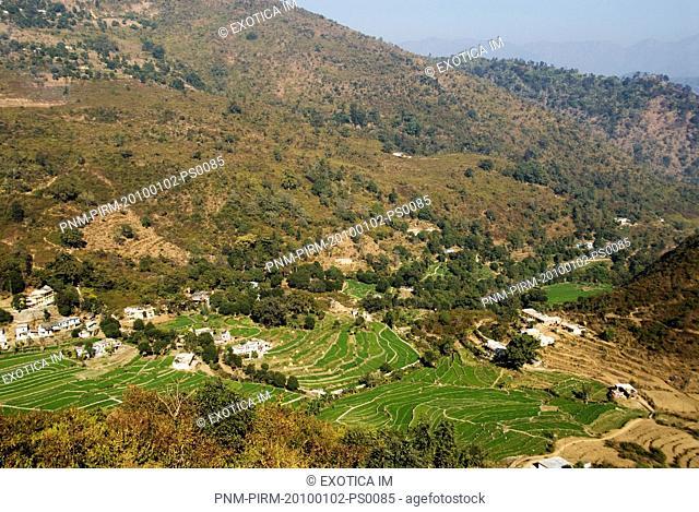 Aerial view of houses on a hill, Rishikesh, Dehradun District, Uttarakhand, India