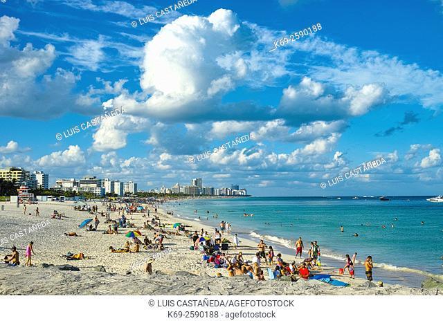 People at the South Point Beach. Miami Beach. Florida. USA