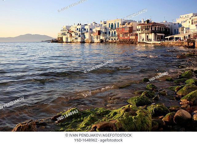 Little Venice at Sunset, Mykonos Town, Mykonos, Cyclades, Greece