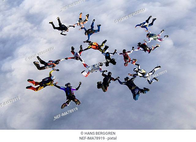 Parachute jumpers in the sky, Sweden