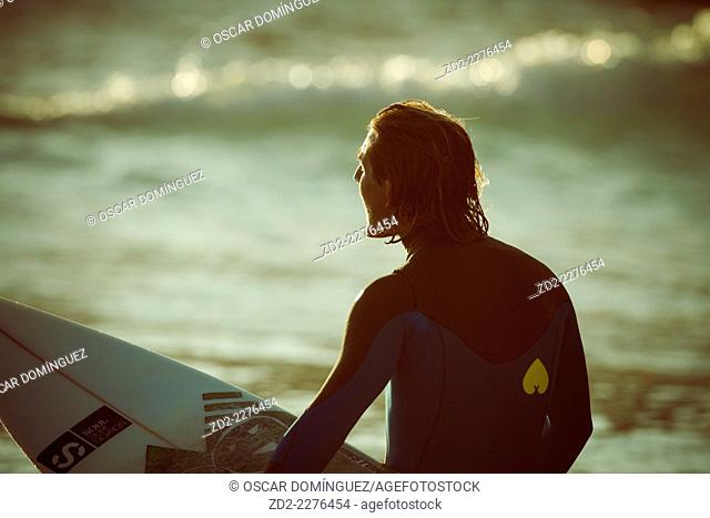 Surfer Pablo Macineira waiting for waves. Orzan Beach. A Coruña. Galicia. Spain