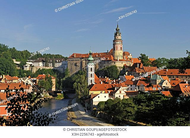 overview of the Old Town of Cesky Krumlov crossed by the Vltava River, South Bohemia, Czech Republic, Europe
