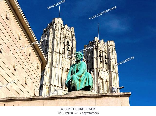 Statue in front of Cathedral of St. Michael and St. Gudula in Br