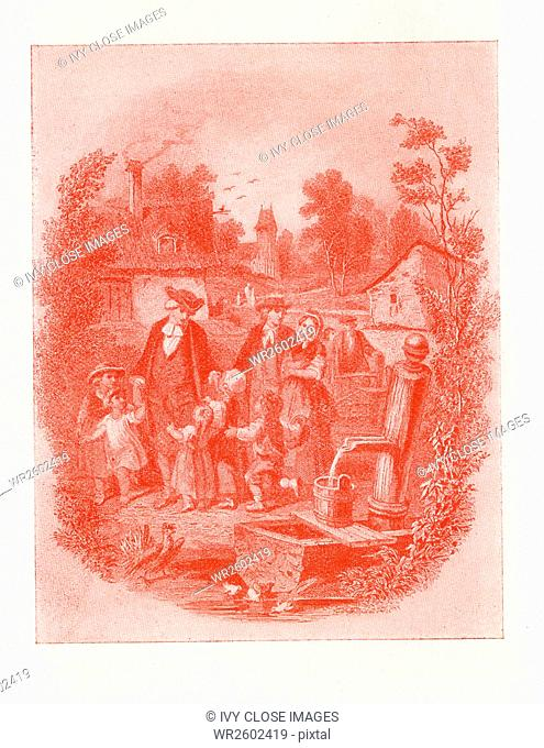 This illustration shows adults and young children, by a water fountain and with small structures in the background. This illustration accompanied am 1890s copy...