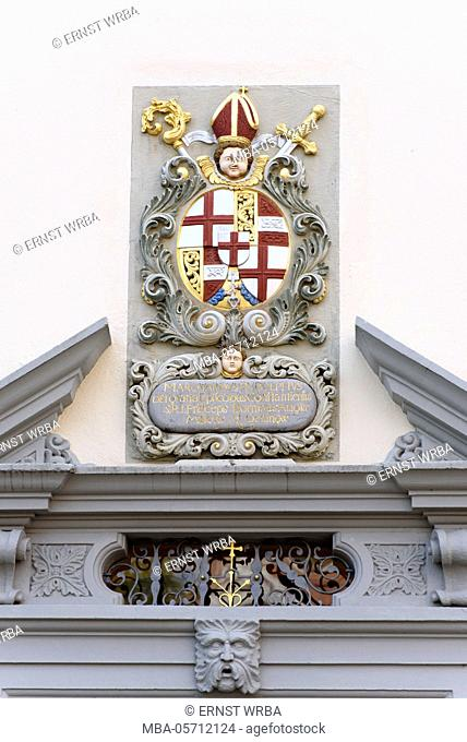 Renaissance coats of arms in portal, old bank, upper town of Meersburg, Lake of Constance, Baden-Wurttemberg, Germany