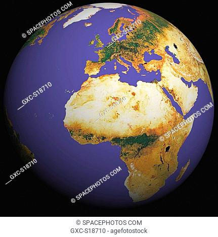 Earth in Space, one can see Europe, France, Africa, the Atlantic Ocean, the Middle East, Saudi Arabia, Greenland. The terrestrial reliefs are coloured to...