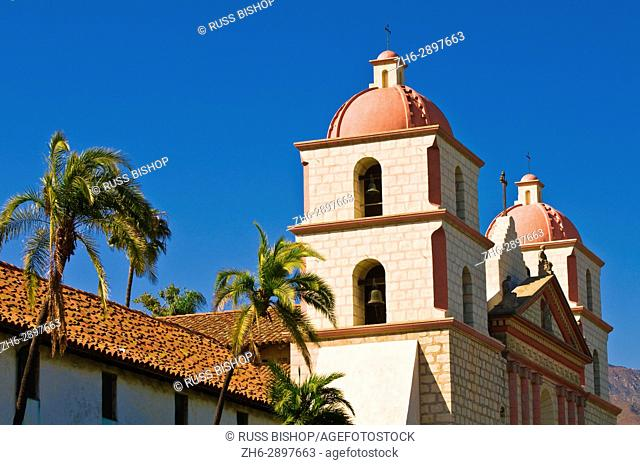 Bell towers and palms at the Santa Barbara Mission (Queen of the missions), Santa Barbara, California USA