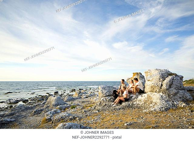 Young people resting at seaside