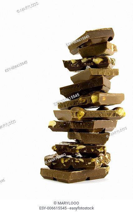 chocolate pyramid on white background