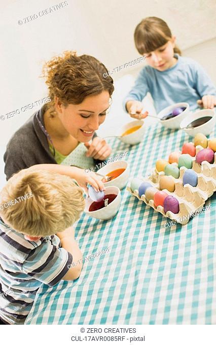 family doing Easter arrangements