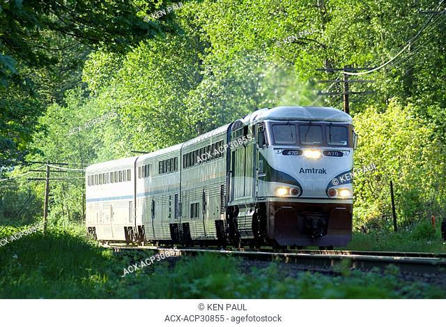 Southbound Amtrak Cascades in Burnaby, BC heading south towards Seattle, Washington