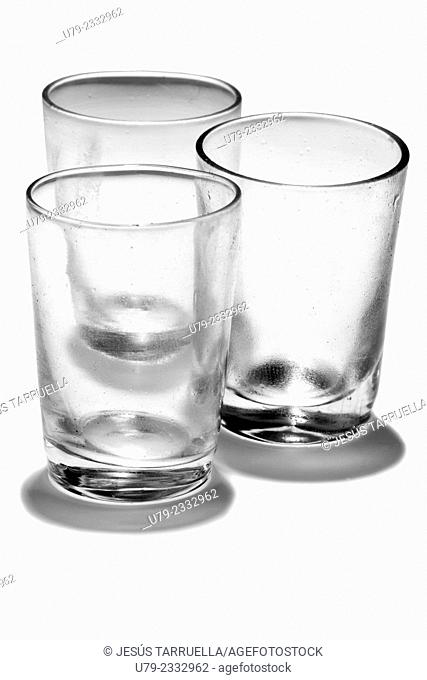 Still life with three glasses of water empty