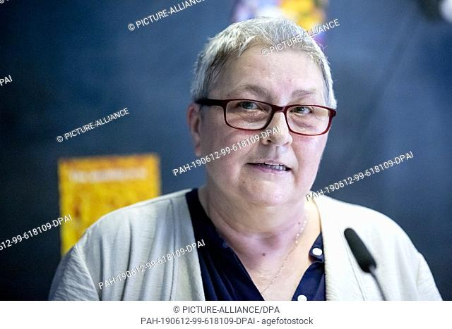 12 June 2019, Berlin: Elke Hannack, Deputy Chairwoman of the German Confederation of Trade Unions (DGB), takes part in a press conference to present the...