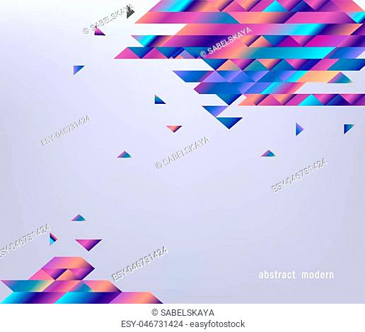 Modern banner with gradient bright colorful geometric shapes and stripes isolated on gray background. Abstract graphic template with fluid coloring elements in...