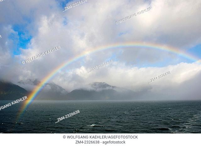 Rainbow in the Chilean Fjords near Puerto Chacabuco in southern Chile