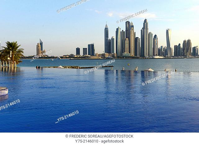 View of Jumeirah in Dubai from a Palm island resort, United Arab Emirates