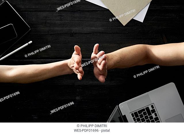 Hands in office