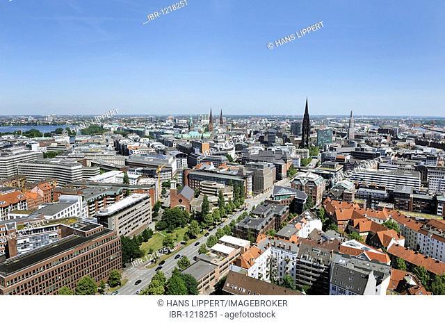 View of Hamburg from St Michaelskirche Church, Hamburg, Germany, Europe